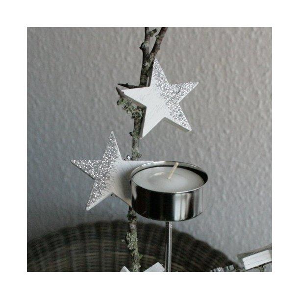 Træstjerner, sølv/hvid (4,5 cm)