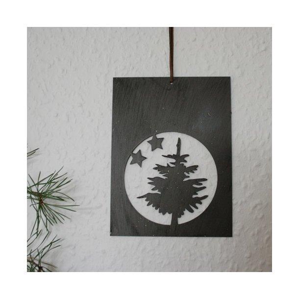 Ophæng med grantræ, brun metal