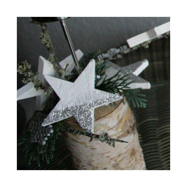 Træstjerner, sølv/hvid(6 cm)