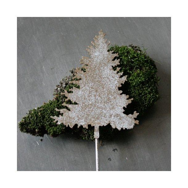 Juletræ på stick, hvid/guld