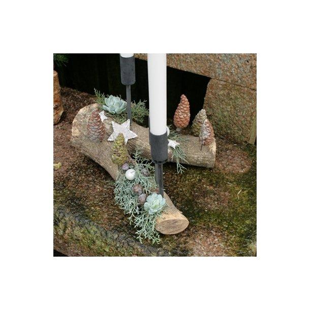 Lysholder med spyd til stagelys, rustik (sort)
