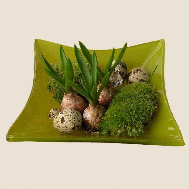 Grønt glasfad