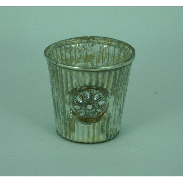 Glas til fyrfadslys, sølv