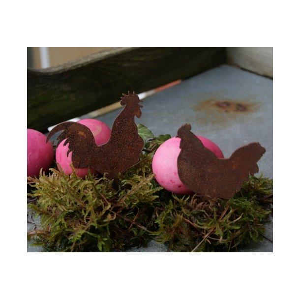 Høne og hane, mini i rust