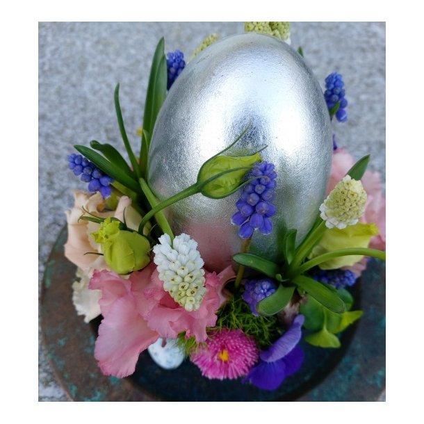 Æg med bladsølv, keramik (8x12)