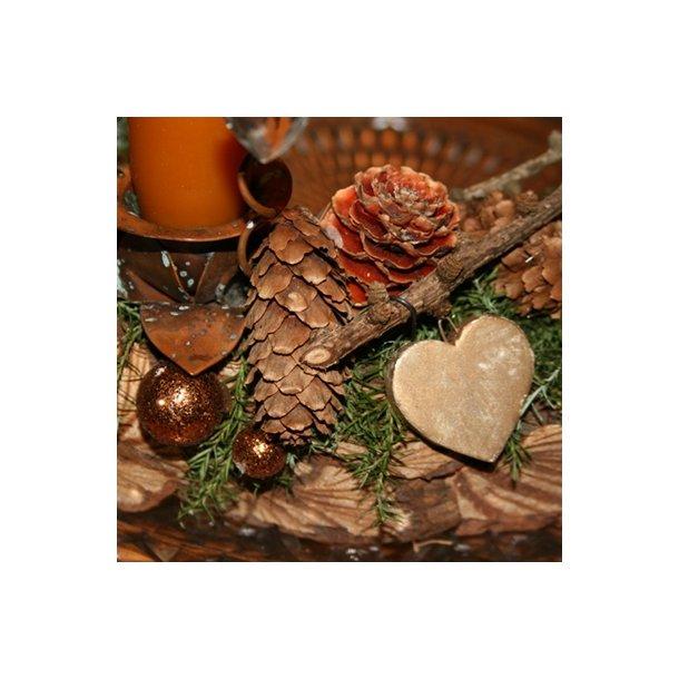 Hjerte, keramik, mat guld (10 stk.)