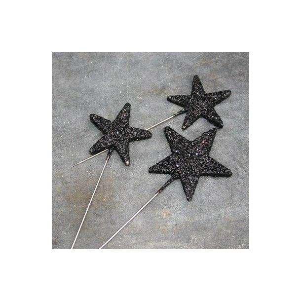 Knappenåle, sort stjerne  (48stk.)