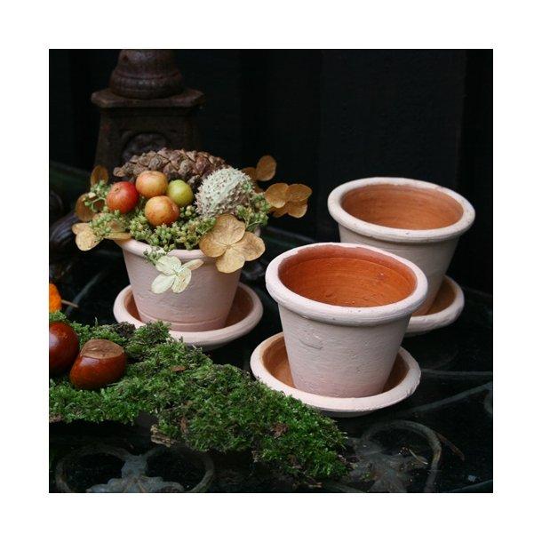 Minipotte, natur  med underskål (3 stk.)