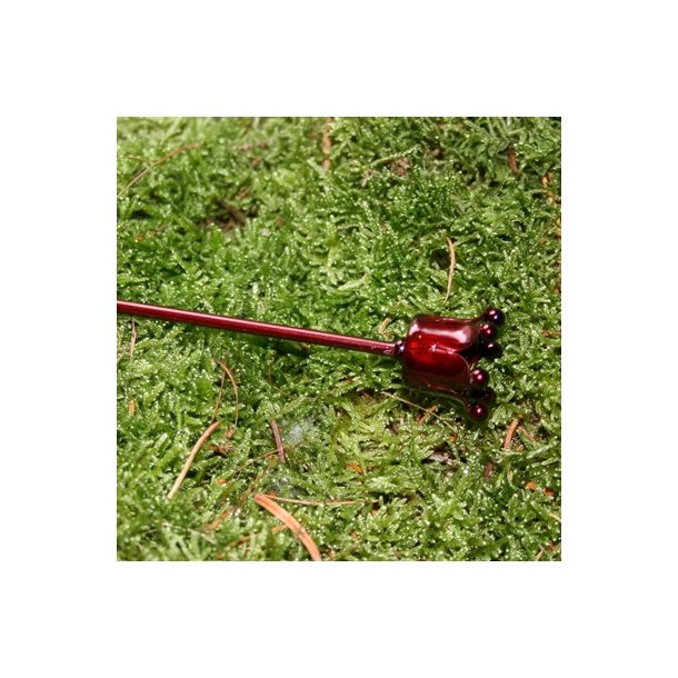 Lysholder til kertelys, rød (20 cm)