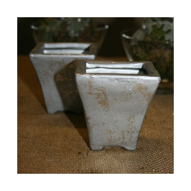 Minipotte, firkantet sølv
