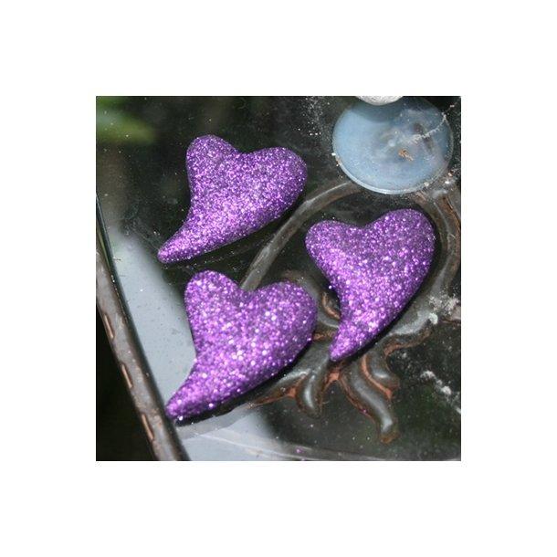 Hjerter, lilla med glimmer (3 stk.)