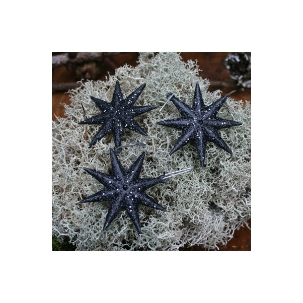 Sorte stjerner med glimmer (10 stk.)