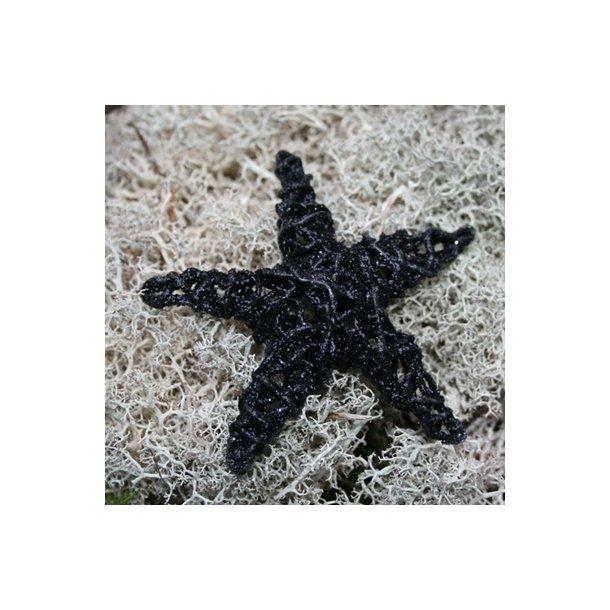 Dekorations stjerner, sorte med glimmer