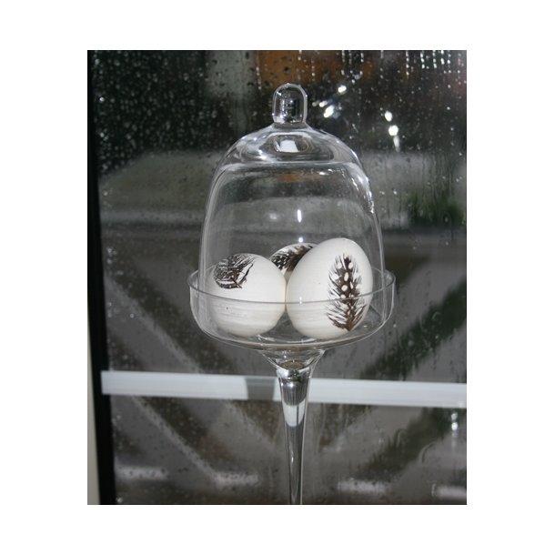 Glas opsats med klokke (27 cm)