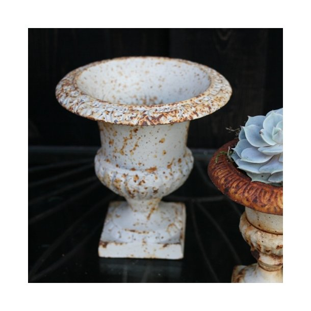 Støbejernskrukke 15 cm, hvid/rust