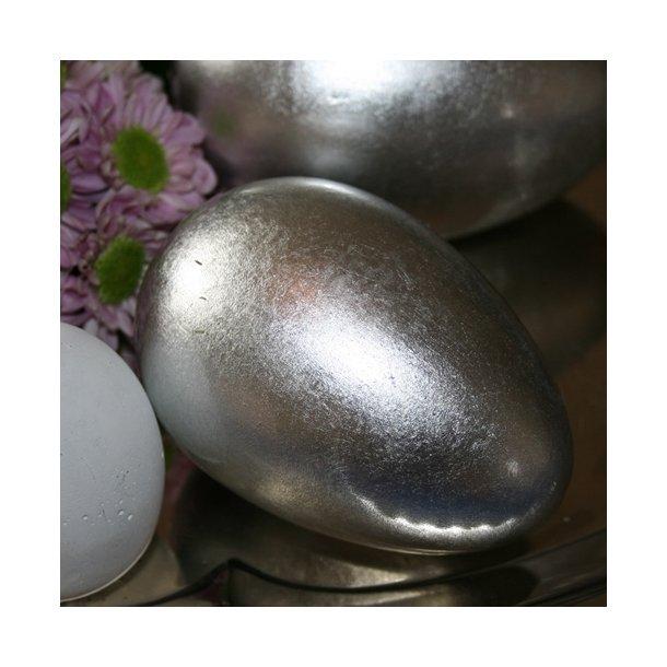 Æg med bladsølv, keramik (7x10)