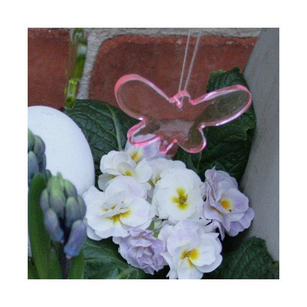 Sommerfugl i glas (pink)