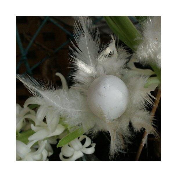 Æg med fjer, hvid (3 stk.)