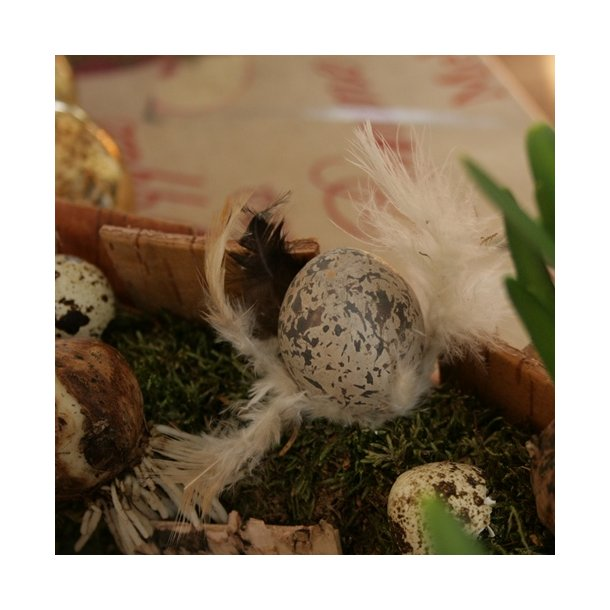Æg med fjer, grå (3 stk.)