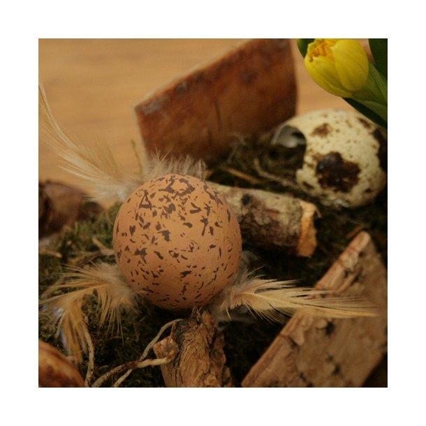Æg med fjer, brune (3 stk.)
