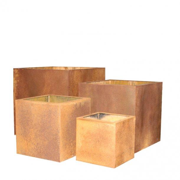 Cortenstål, kvadratisk krukke (sæt af 4)