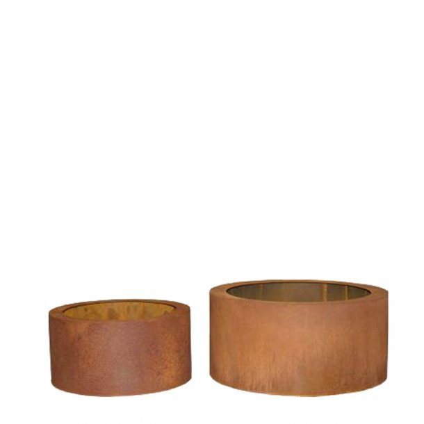 Cortenstål, lav rund krukke (Sæt af 2 krukker)