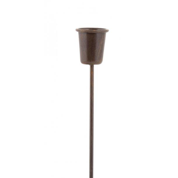 Lysholder til stagelys, brun (12 cm)