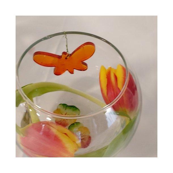 Sommerfugl i glas (orange)